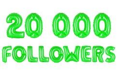Twenty thousand followers, green color Royalty Free Stock Photography