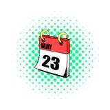 Twenty three may in calendar icon, comics style vector illustration