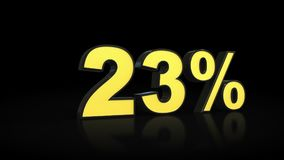 Twenty-three 23 % percent 3D rendering. Twenty-three 23 percent caption 3D rendering Royalty Free Stock Image