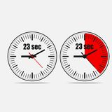 Twenty three seconds timer. Twenty three Seconds Clock on gray background on white background. 23 seconds timer. Stopwach icon. Two options. Vector illustration royalty free illustration