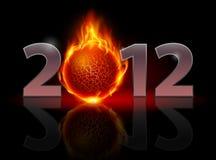 Twenty Twelve year. Fire ball. Illustration on black background Royalty Free Illustration