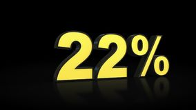 Twenty-two 22 % percent 3D rendering. Twenty-two 22 percent caption 3D rendering Royalty Free Stock Images