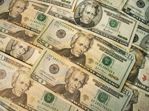 Twenty US dollar bills Royalty Free Stock Images