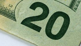 Twenty US or USA Dollar Bill Closeup. Twenty US or USA Dollar Bill Close up stock footage