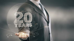 Twenty 20 Year Businessman Holding in Hand New technologies. Businessman in the future with futuristic technology stock footage