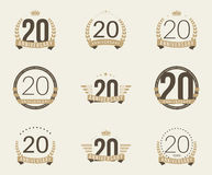 Twenty years anniversary celebration logotype. 20th anniversary logo collection. Stock Images