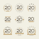 Twenty years anniversary celebration logotype. 20th anniversary logo collection. Twenty years anniversary celebration logotype Royalty Free Stock Photography