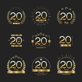 Twenty years anniversary celebration logotype. 20th anniversary logo collection. Vector Royalty Free Stock Image