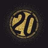 Twenty years anniversary celebration logotype. 20th anniversary logo. Vector Royalty Free Stock Photography