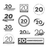 Twenty years anniversary celebration logotype. 20th anniversary logo collection. Vector Royalty Free Stock Images