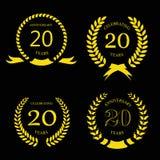 Twenty years anniversary laurel gold wreath - 20. Twenty years anniversary laurel gold wreath -  20 years set Royalty Free Stock Photos