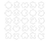 Twentyfive jigsaw shapes Royalty Free Stock Photos
