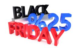 Twentyfive percent discounts on Black Friday, 3d render. Ing Stock Image