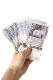 Twenyt pound notes  in hand Royalty Free Stock Images