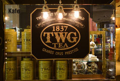 TWG茶餐馆的入口标志 库存照片