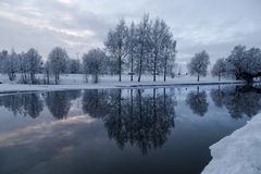 Twice as much. A winter lake in north of Sweden Royalty Free Stock Image