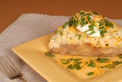 A twice baked potato with scallions, cheese and sour cream. A twice baked potato with diced scallions, cheese and sour cream Stock Photo