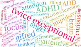 Twice Exceptional Word Cloud Stock Photos
