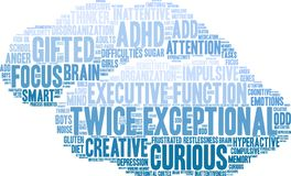 Twice Exceptional Word Cloud Stock Photography