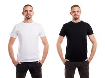Twice man in blank white and black tshirt from front side on white background. T-shirt design stock photography