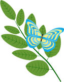 Twig. There is butterfly on twig Stock Images