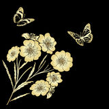 Twig blossoms and butterflies Royalty Free Stock Images