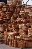 Twig bottles, plates, boxes, basket Royalty Free Stock Photos