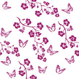 Twig cherry blossoms and butterfly. Seamless Royalty Free Stock Photo