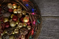 Twig Christmas Wreath and Decorations Royalty Free Stock Photography