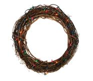 Twig Christmas Wreath with Lights Royalty Free Stock Image