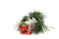 Twig of fir and Christmas candle Royalty Free Stock Photo
