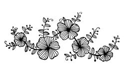 Twig garlands of flowers with leaves pattern graphic illustration vector illustration
