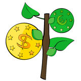 Twig that grow on the coin. A vector image that grows on twigs dollar and the euro coins Royalty Free Stock Photography