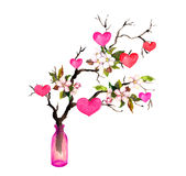 Twig with hearts, spring blossom flowers in glass bottle. Watercolor for Valentine day or wedding Stock Images
