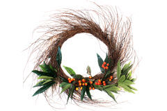 Twig and orange berry wreath Royalty Free Stock Photography