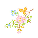 Twig shrub whit spring flowers vector without gradients Stock Photo