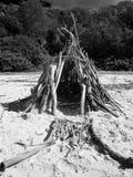 Twig Tent on Seashore Royalty Free Stock Photos