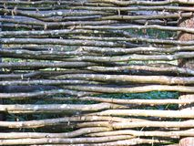 Twig Wooden Willow Fence Wall Detail in Rural Village stock photography