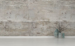 Twigs in Contemporary Vases in Empty Room royalty free illustration