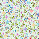 Twigs and floral pattern Stock Photo