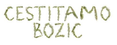 Twigs forming the phrase 'Cestitamo Bozic' Stock Images