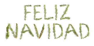 Twigs forming the phrase 'Feliz Navidad' Royalty Free Stock Photo