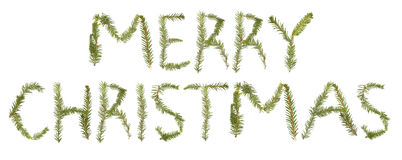 Twigs forming the phrase 'MERRY CHRISTMAS' Royalty Free Stock Images