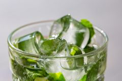 Twigs green mint in mojito with slices lime, ice cubes, straw, macro, texture. Blur stock photo