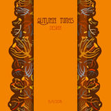 Twigs pattern. Autumn background with vertical strip design. Text place. Royalty Free Stock Photos
