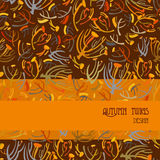 Twigs pattern. Orange brown background with strip design. Text place. Stock Photography