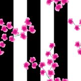 Twigs of a pink orchid on a dark background with wide. black stripes. Seamless pattern stock illustration