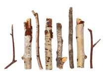 Twigs, set macro dry branches birch isolated on white background Stock Photos