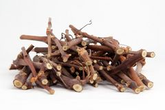 Twigs of wood. Small cut branches, ready to be used in a fire Stock Photography