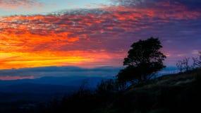 Twilight. Beautiful Autumn Sunset from mountain Stock Image